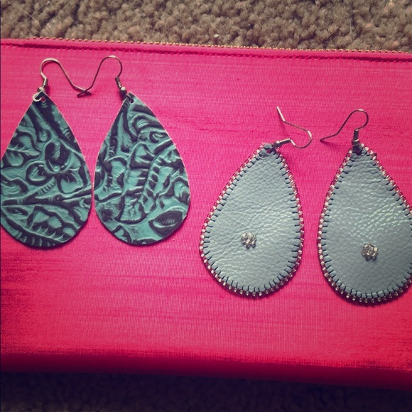 Jewelry - Handmade leather teardrop earrings